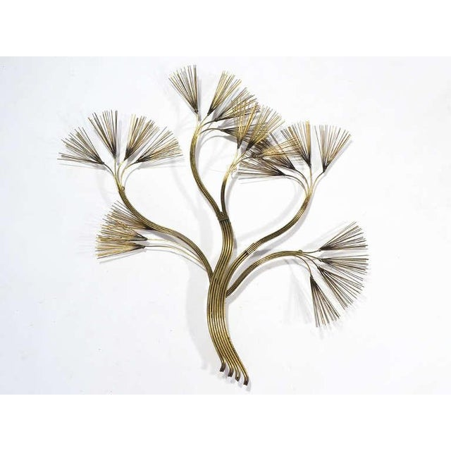 Brutalist Abstract Floral Wall Sculpture in Brass by Jere For Sale - Image 3 of 5