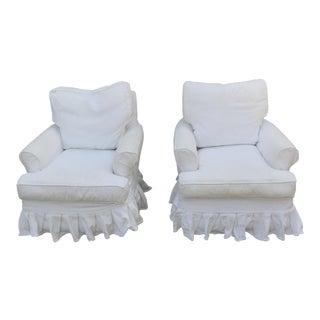 White Slip Covered Skirted Swivel Chairs - Pair