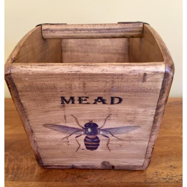 Cottage Vintage Mid-Century English Wooden BeeKeeper Basket For Sale - Image 3 of 6