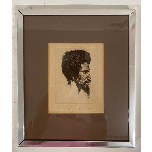 1960s 1960s Portrait of a Black Male Etching Numbered 26/250, Framed For Sale - Image 5 of 5