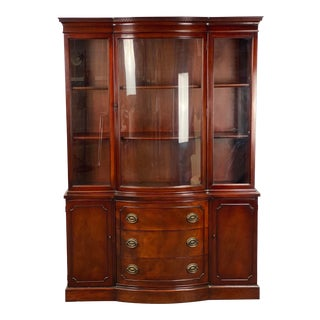 Vintage Drexel Curved Glass Mahogany Georgian Style China / Display Cabinet For Sale