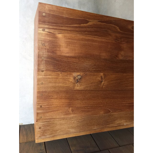 1960s Vintage Walnut Bench With Magazine Holder For Sale - Image 6 of 11