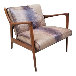 Mid Century Modern Danish Lounge Chair Newly Upholstered For Sale