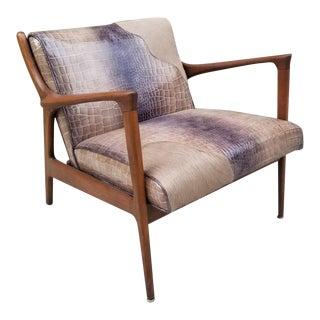 Mid Century Modern Danish Walnut Lounge Chair Newly Upholstred For Sale