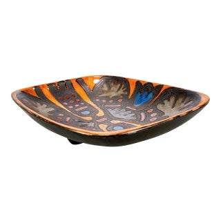 Rogier Vandewegh for Perignem Art Pottery Footed Platter For Sale