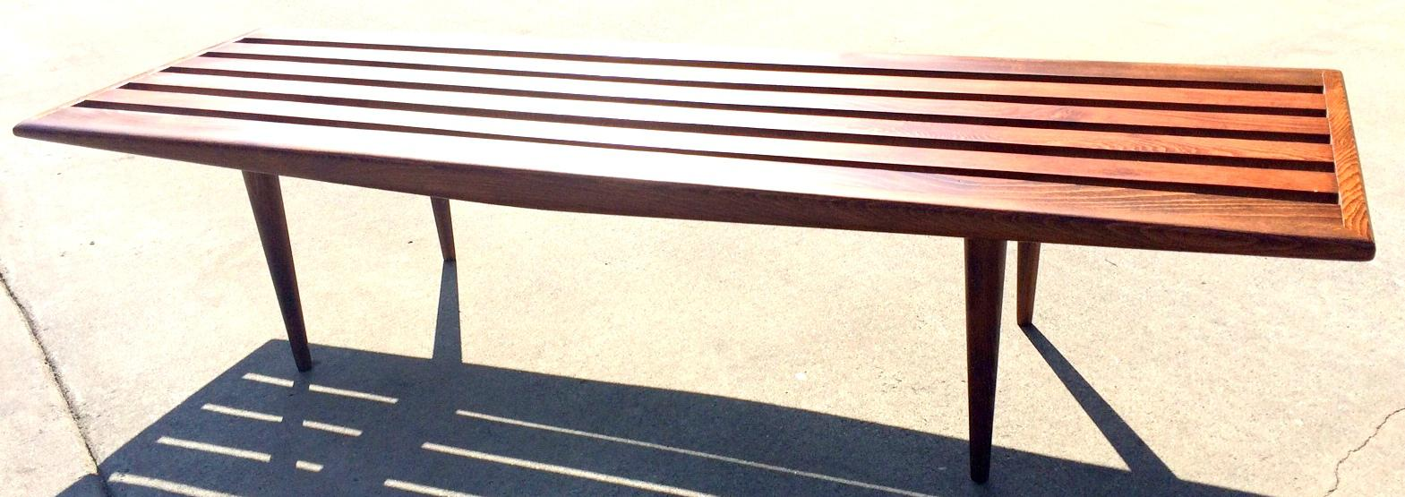 Brown Mid Century Danish Modern Slat Bench Coffee Table For Sale   Image 8  Of