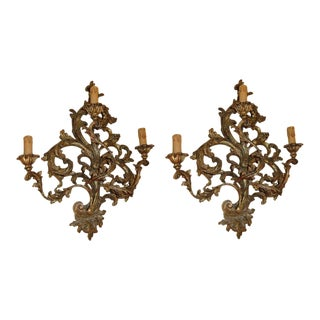 Pair of 19th Century Gilded Sconces For Sale