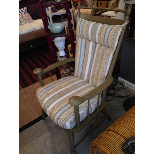 Windsor Chair with Striped Upholstered Cushions - Image 3 of 4