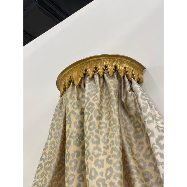 Contemporary Cheetah Upholstered Queen Bed with Italian Gold Leaf Corona For Sale - Image 4 of 9