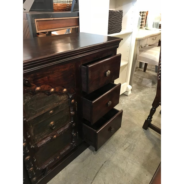 Antique Asian Indian Rustic Heavy Metal Hardware Wood Credenza For Sale In Los Angeles - Image 6 of 9