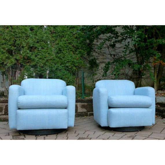 Pale Blue Mid-Century Barrel Lounge Chairs - Image 3 of 6