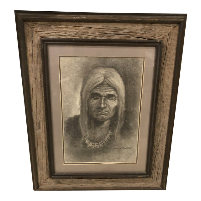 """Charcoal Drawing, """"Navajo Man"""" For Sale"""