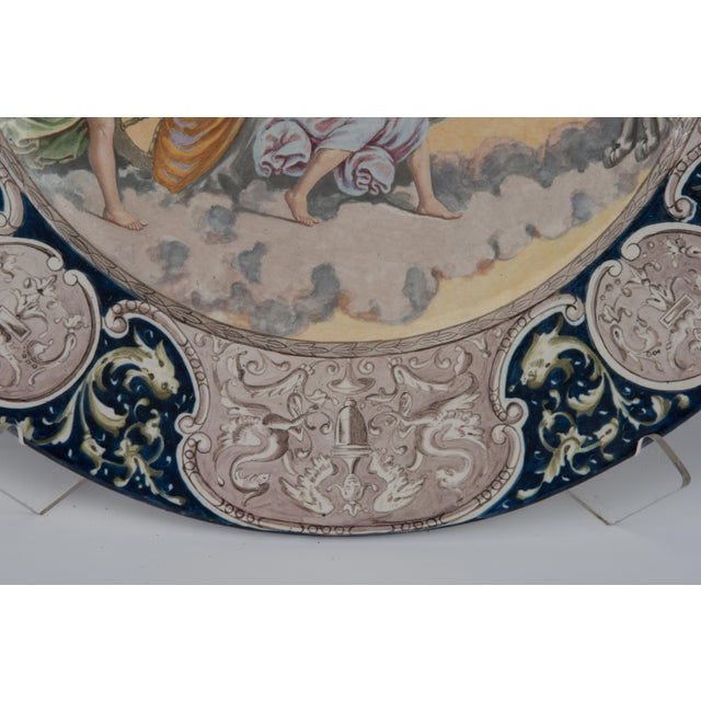 Blue Large Italian Faience Allegorical Neoclassical Charger Icarus Chariot For Sale - Image 8 of 13