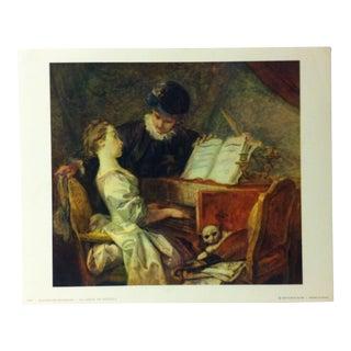 """French Color Print on Paper, """"La Lecon De Musique"""" by Jean Honore' Fragonard - 1960 For Sale"""