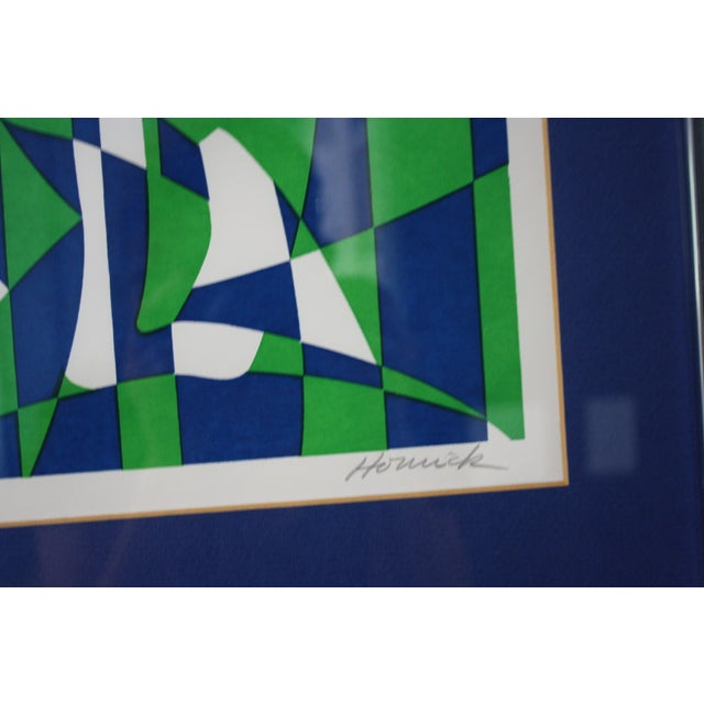 1970s Op Art Blue and Green Serigraphs - A Pair - Image 5 of 11