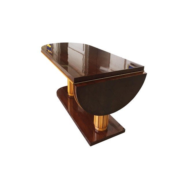 1930s Gilbert Rohde Art Deco Oval Drop-Leaf Desk For Sale - Image 5 of 13