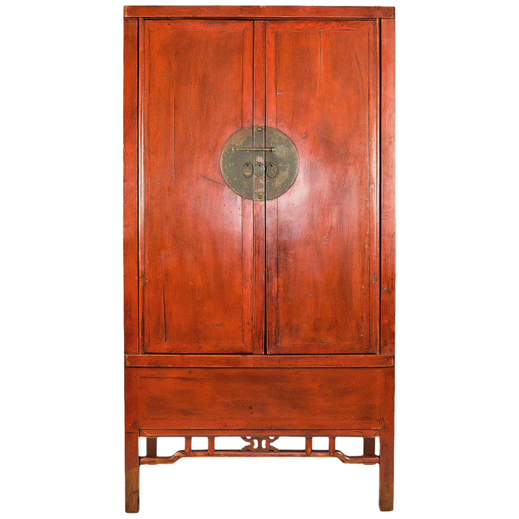 Large Antique Chinese Red Armoire Wedding Cabinet   Image 1 Of 8