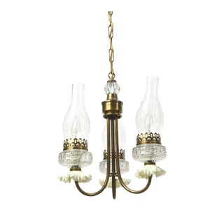 Three Light Vintage Oil Style Chandelier For Sale
