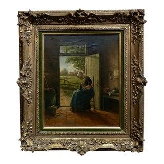 Adriaan Marinus Geyp -Woman Knitting by the Door -19th Century Dutch Oil Painting