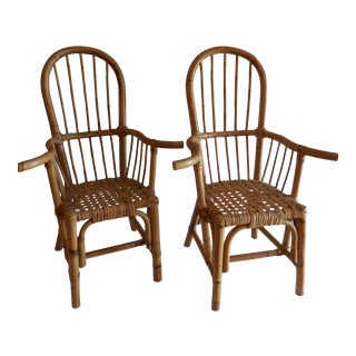1970s Boho Chic Bamboo Child Chairs - a Pair For Sale