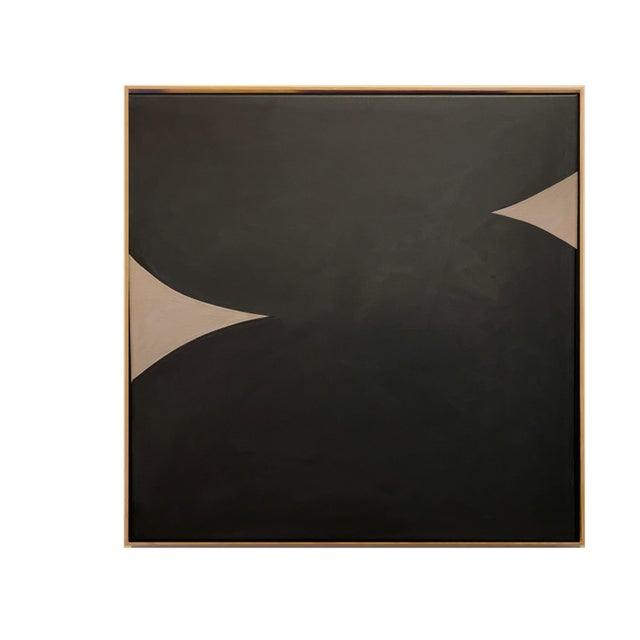 Contemporary Minimalist Monochromatic Acrylic Gouache Painting by Brooks Burns, Framed For Sale - Image 4 of 5