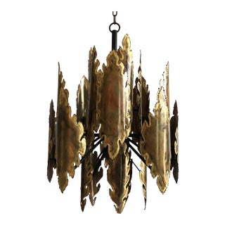 Holm Sorensen Danish Modern Brutalist Brass 10 Light Chandelier