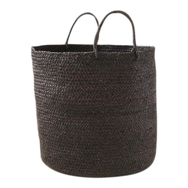 Indego Africa Large Handwoven Braided Raffia Basket, Black For Sale