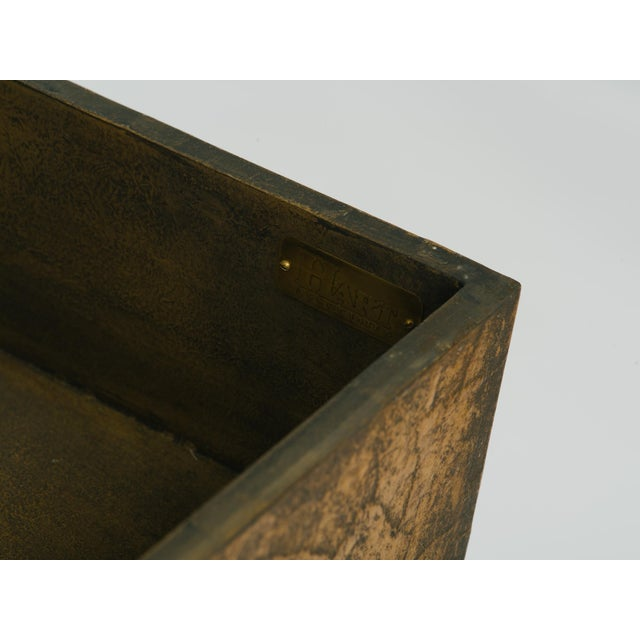 Metal Leather Trunk on Brass Base by Hart Associates For Sale - Image 7 of 12