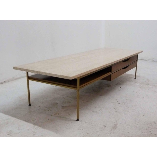 Paul McCobb For Calvin Mahogany, Brass & Travertine Coffee Table - Image 5 of 11