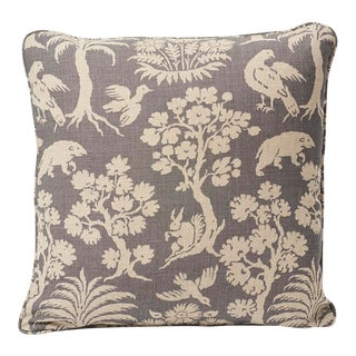 Schumacher Woodland Silhouette Print Double-Sided Linen Pillow in Steel For Sale