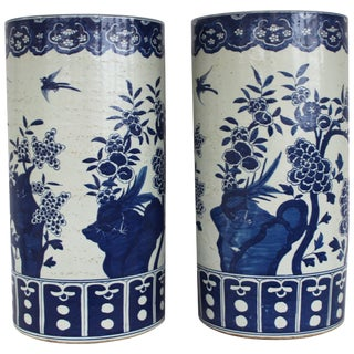 Pair of Chinese Blue and White Umbrella Stands For Sale