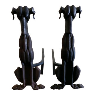 Vintage Dog Andirons Art Deco Firedogs - a Pair For Sale
