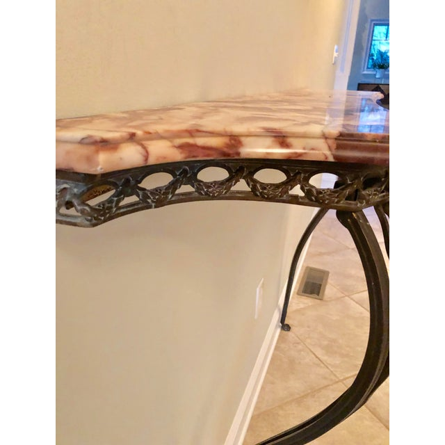 French Wrought Iron Art Deco Marble Top Console For Sale - Image 11 of 13