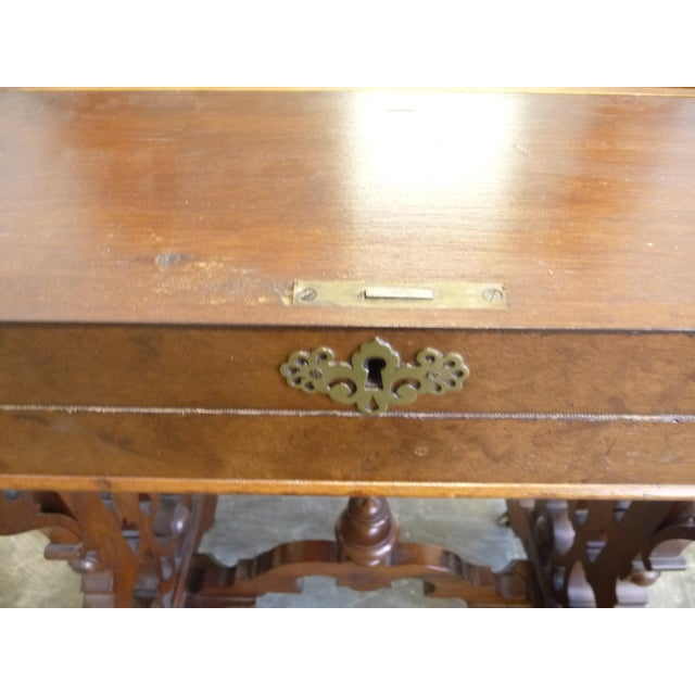 Brown 1860's Victorian Walnut Lift Top Writing Desk For Sale - Image 8 of 10