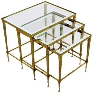 Mid Century Modern French Set 3 Nesting Stacked Side Tables Brass & Glass 1950s For Sale