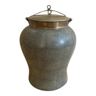 Monumental Tozai Home Shagreen Brass Urn For Sale