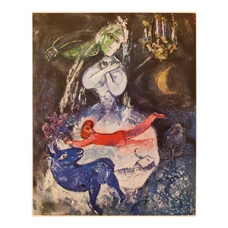 "1947 M. Chagall Original ""La Somnambule"" Parisian Lithograph, C. O. A. For Sale"
