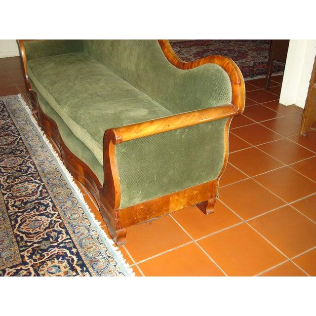 Green Velvet Serpentine Victorian Sofa - Image 3 of 6