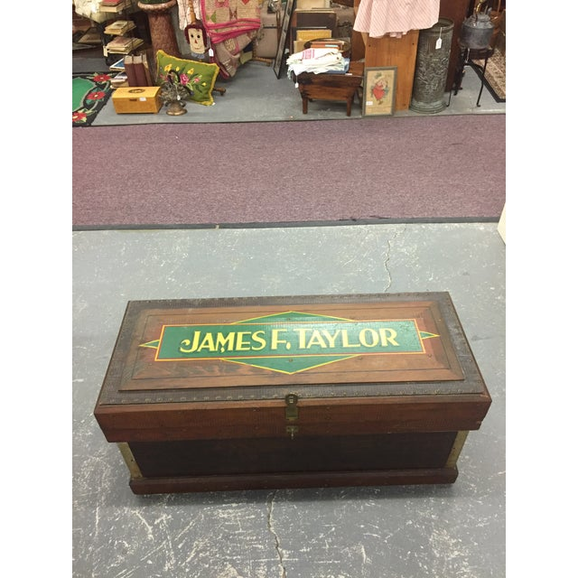 1940s 1940s Folk Art Pine Box With James F Taylor Letting For Sale - Image 5 of 8