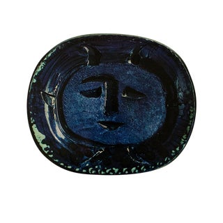 1955 Pablo Picasso Satyr in Blue Ceramic Plate, Original Period Swiss Lithograph For Sale