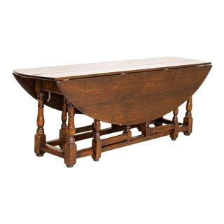 Antique Drop Leaf Gate Leg English Wake Table For Sale