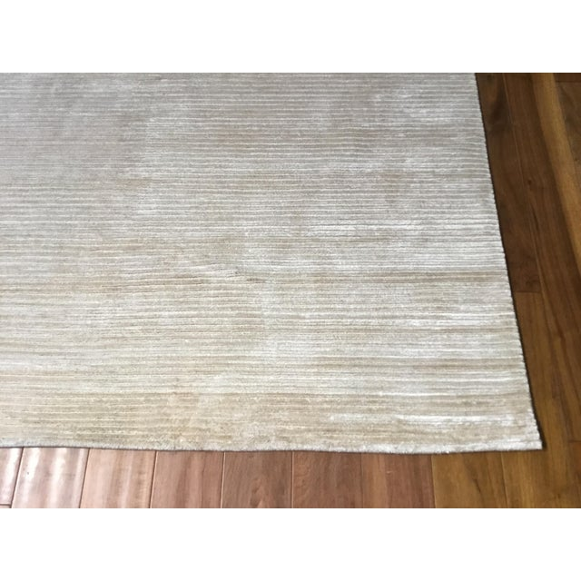 """Contemporary Contemporary Tone on Tone Striped Rug White (10'x13'6"""") For Sale - Image 3 of 7"""