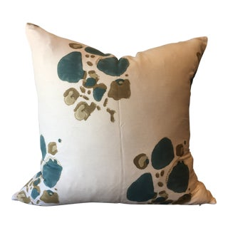 """Tulu Textiles """"Alvin"""" Teal Pillow Cover For Sale"""