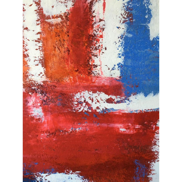 Red Mario Sergio Lopomo Vintage Abstract Painting For Sale - Image 8 of 10