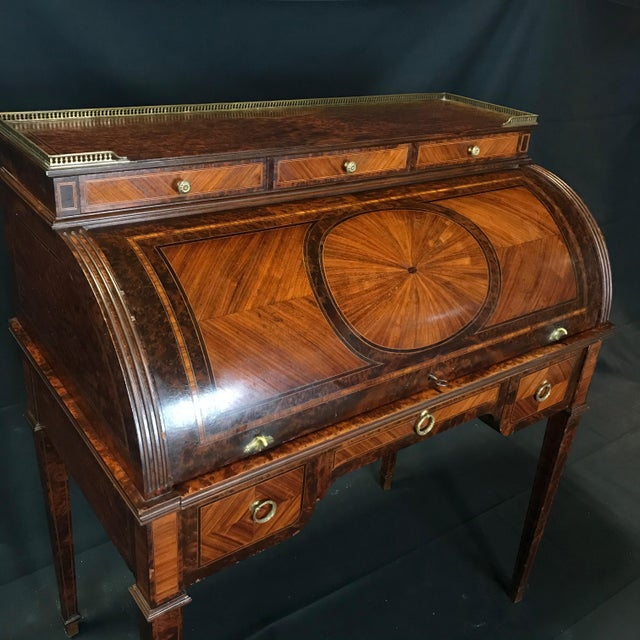 Late 19th Century Antique 19th Century Louis XVI Cylinder Bureau Rolltop Desk For Sale - Image 5 of 8