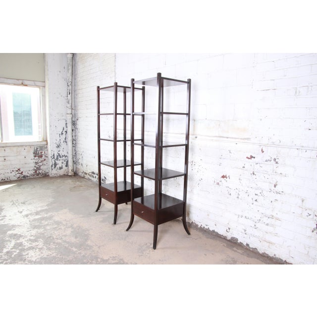 Modern Barbara Barry for Baker Furniture Dark Mahogany Étagères, Pair For Sale - Image 3 of 13