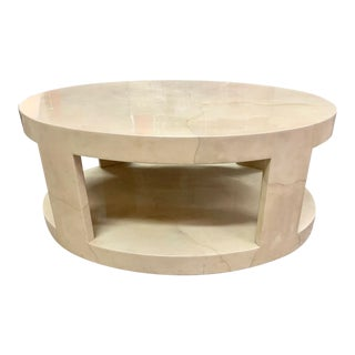 1990s Mid-Century Modern J Robert Scott Cilindro Goat Skin Coffee Table For Sale