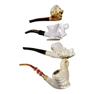 4 Collectable Meerschaum Vintage Cao Lions Head, Horse, Swan Smoking Tobacco Pipes For Sale