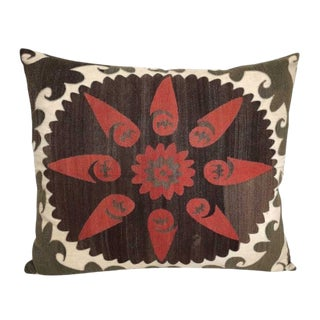 Vintage Silk and Cotton Embroidered Samarkand Pillow For Sale