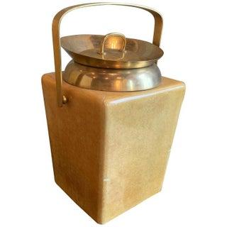 Modernist Goatskin and Brass Ice Bucket by Aldo Tura For Sale